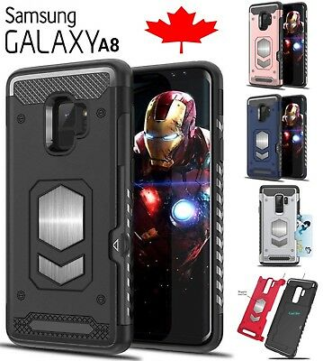 For Samsung Galaxy A8 2018 Shockproof Card Slot Magnetic Hard Cover Phone Case