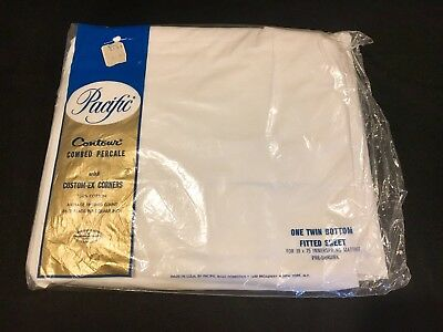 Vintage Nip Pacific Combed Percale Twin Fitted Sheet White 100% Cotton 186 Tc