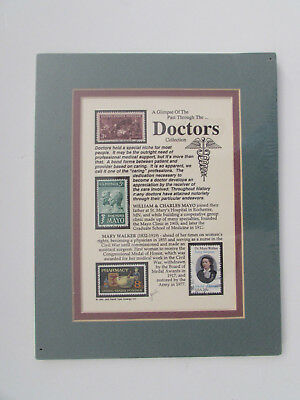 """Stamp Art by Jack Rabbit Studio """"Doctors Collection"""" 1995, signed, Matted"""