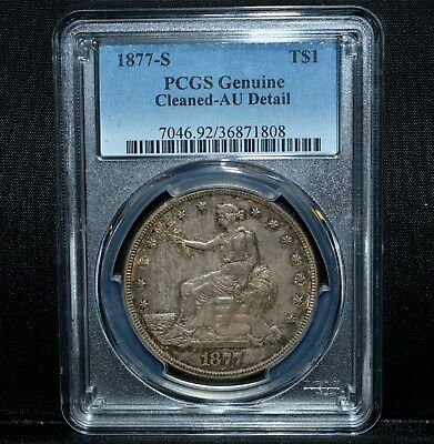 1877-S $1 Trade Dollar ✪ Pcgs Au Details ✪ L@@K Almost Uncirculated 808◢Trusted◣