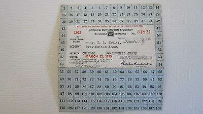 1925 CB&Q Railroad 180 ride trip pass - Chicago and Downers Grove- Burlington RR