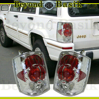 1993 1994 1995 1996 1997 1998 Jeep Grand Cherokee Euro Tail Lights Chrome Red