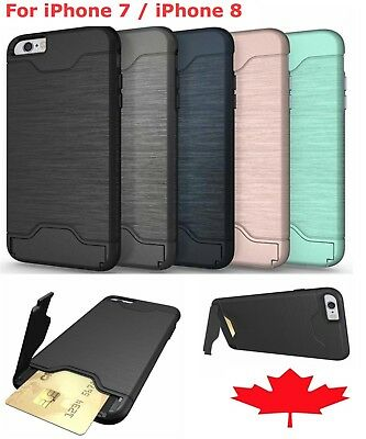 For iPhone 7 8 Full Body Rugged Shockproof Card Slot Heavy Duty Hard Cover Case