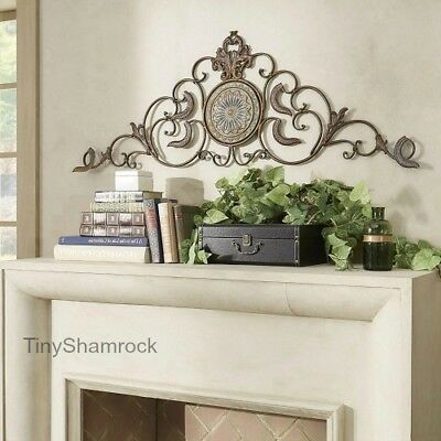 """Large Wall Art 58"""" Wide Iron Metal Old World Style Tuscan Scroll Mantle Door New"""