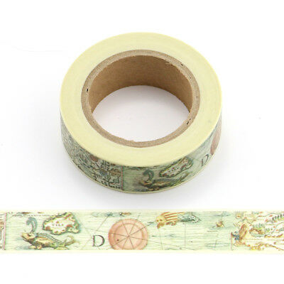 Antique Map Themed Retro Vintage Washi Tape 15mm x 10 Metre Roll