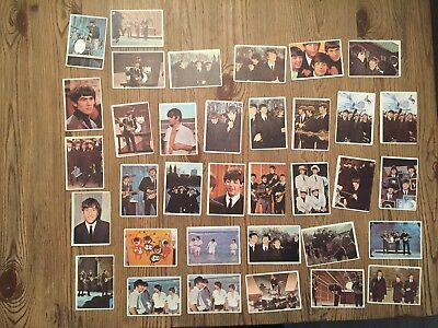 B233 Lot of 35 Vintage Beatles Trading Cards 1964 Topps