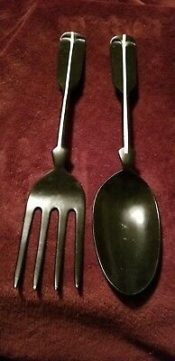 Vintage 19 Inch, Large Cast Aluminum Fork and Spoon Wall Decor Black & White