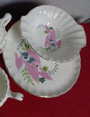Antique W.S. GEORGE Plate & Bowl CALADIUM Pattern ~Nice ❤ Dishes