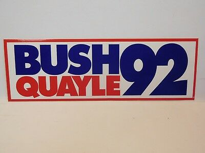 Bush Quayle 92 for President Political Campaign Bumper Sticker