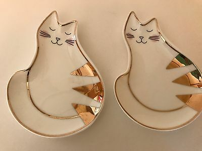 Pair of  Francesca's Cat  trinket dishes with gold- New- Free Shipping