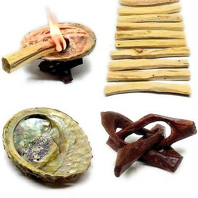 Palo Santo Holy Wood Pack of 10 Abalone Shell 3-4 L,Wooden Tripod Stand 2""