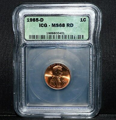 1985-D Lincoln Cent ✪ Icg Ms-68-Rd Red ✪ 1C Superb Gem Uncirculated ◢Trusted◣