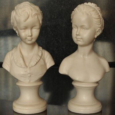 After Houdon, Alexandre & Louise Brongniart Child Busts, Contemporary Resin