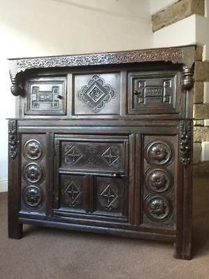 A Rare 17th Century Joined Oak Press Cupboard