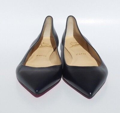 half off 19400 6fe6c CHRISTIAN LOUBOUTIN BALLALLA Navy Blue Leather Pointed Toe Ballet Flats  37.5 GUC