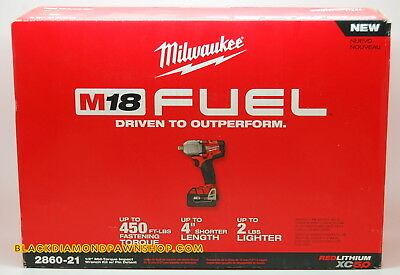 Milwaukee 2860-21 M18 FUEL 1/2' Mid-Torque Impact Wrench Kit with Pin Detent