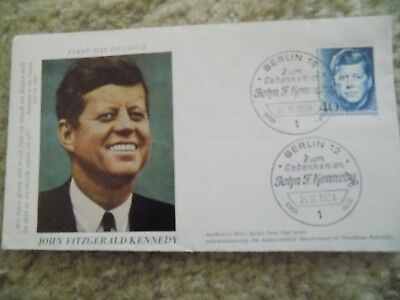 John F Kennedy Authentic West Berlin First Day Issue Collector Envelope Rare-Min