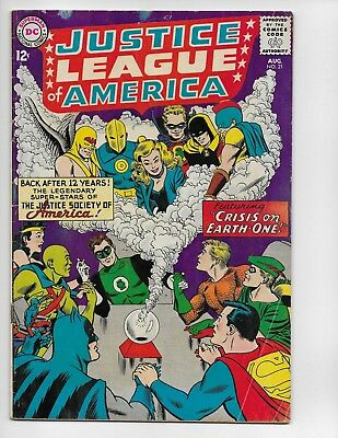 Justice League Of America 21 - Vg+ 4.5 - Re-Intro Of Justice Society (1963)