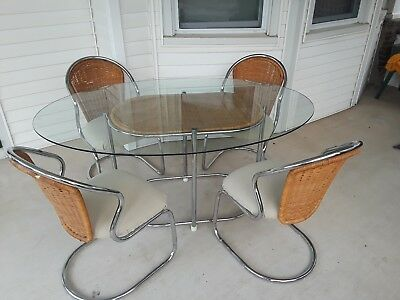 Daystrom Mid Century Oval Chrome Glass & Wicker Dining Table 4 Chairs
