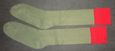 "Boy Scout knee Socks Green & Red used - extra long knee socks -  3.5"" RED TOPS -"