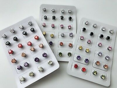 Women Girls MAGNETIC Clip Crystal cubic NO Piercing Fake ear Hole Studs Earrings