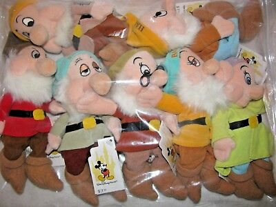 Walt Disney World Seven Dwarfs Plush Bean Bag Set Dwarves NEW SEALED since new