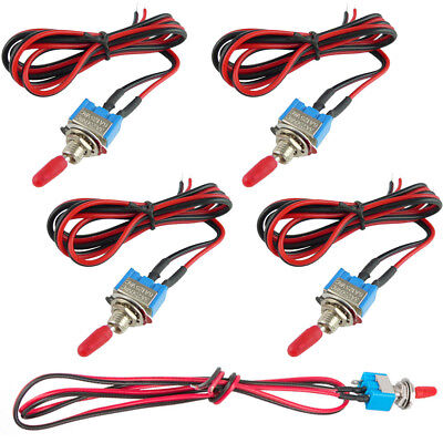 5PCS Mini Small Toggle Switch Wires On/Off Metal Automotive Boat Car Truck NEW