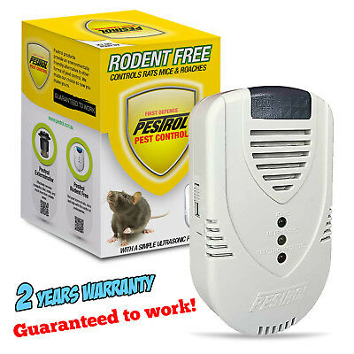 PESTROL RODENT FREE Ultrasonic Rat Mouse Electromagnetic Ionic Pest Repeller AU