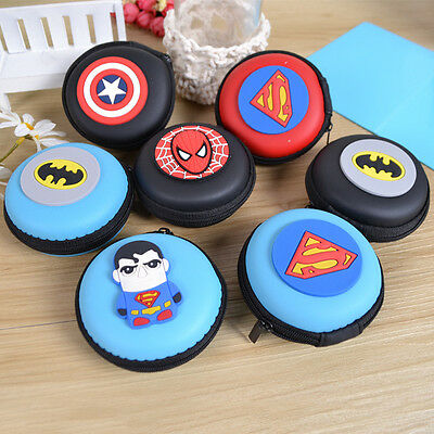 Kids Boys Cartoon Super Hero Mini Rubber Coin Purse Wallet Headset Bag Cute Gift