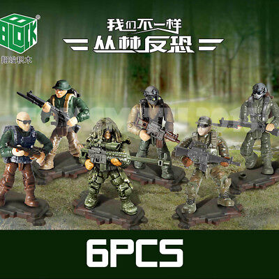 Mini Military Blocks Bricks MOH COD Soldiers Army Figures Survival Equipment 6X