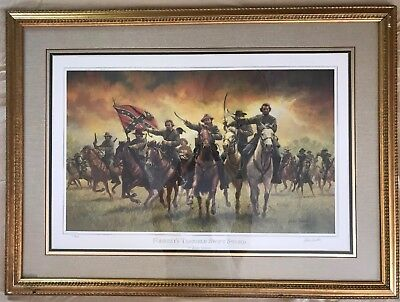"""FORREST'S TERRIBLE SWIFT SWORD"" by John Duillo - Civil War Print Framed/Signed"