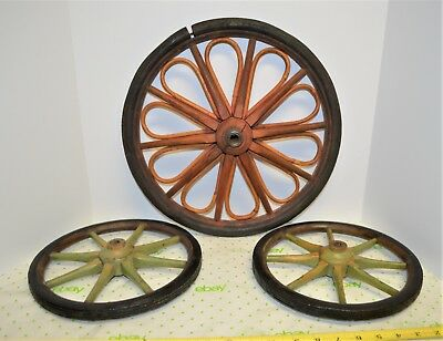 "3 Antique Primitive Buggy Cart Wagon Wheels Old Farm Wood Red Green 10"" & 14.25"""