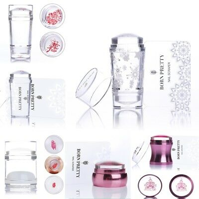 Born Pretty Clear Jelly Chess Nail Art Stamper Nails Stamping Stamp Scraper Set