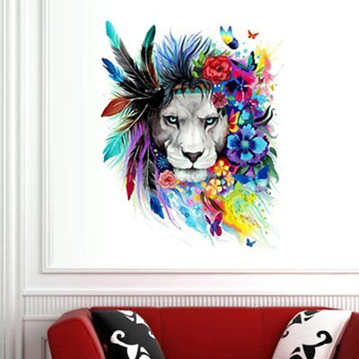 Creative Colorful Lion Head Wall Sticker Removable DIY Home Decor Wallpaper NS