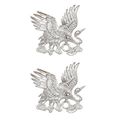 2x Silver Alloy Filigree Crane Shape Charms Pendants Headdress Connector DIY