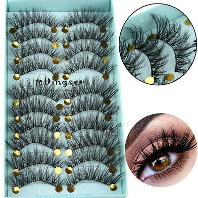 10 Pairs 3D Faxu Mink Hair False Eyelashes Wispy Fluffy Lashes Extension