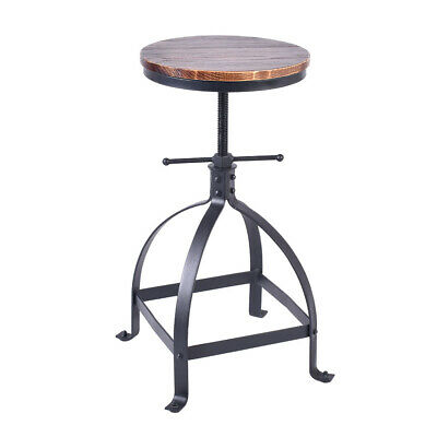 Vintage Bar Stool Swivel Wood Seat Kitchen Coffee Chair Height Adjustable Black