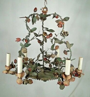 A WONDERFUL VINTAGE EARLY 20th CENTURY FRENCH PAINTED FLORAL TOLE CHANDELIER