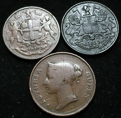Great Lot Of 3 East India Company Coins. 1835, 1858 1/4 Anna, 1845 One Cent.