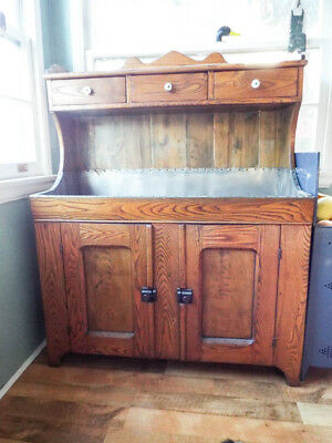 Antique High Back Dry Sink Country Kitchen Arts Crafts Cabinet Dresser Cupboard
