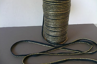 Vintage Black/Gold  Piping Trim for all Sewing. 10mms. x 3 Metres