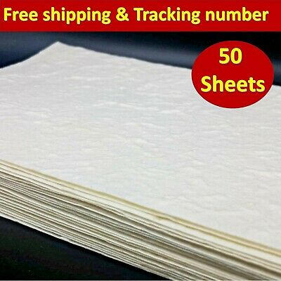 A5 Mulberry Paper Sheet White Handmade Natural Card Invitation Craft 50 Sheets