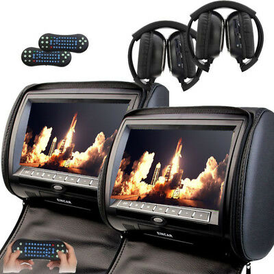 "Black Car Headrest DVD Player 9""Touch Screen Monitors HDMI+Kids Games+Headphones"