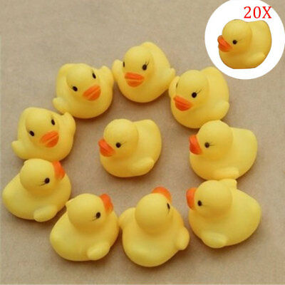 20Pcs Squeaky Ducky Baby Bath Toys Cute Rubber Ducks Kids Water Playing Toy