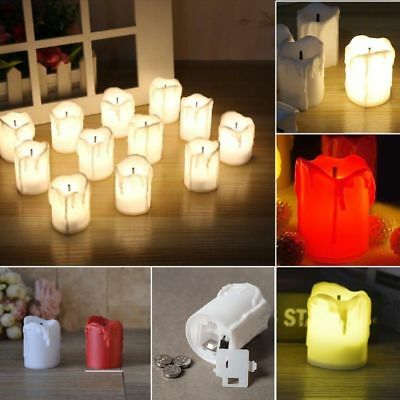 12Pcs LED Tea Lights Battery Fake Candles Flameless Flickering Decor Festival