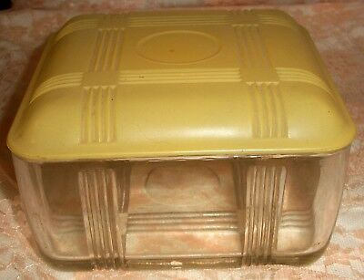 Vintage Glass Bread Dish with  Yellow Glass Lid