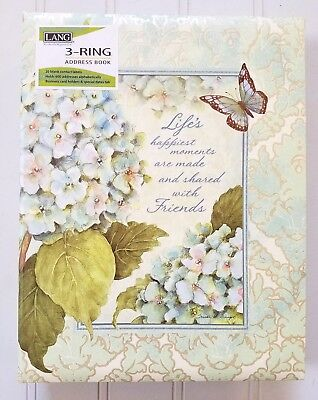 "Blue Hydrangea Lang Address Book ~ Susan Winget ~ 3-Ring Bound 6.5"" x 8.5"" x 2"""