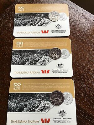 3X 20 Cent 2016 Carded Anzac /afghanistan War Special Edition Australian Coins