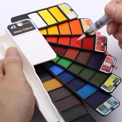 18/25/33/42 Colors Solid Water Color Paint Set Pigment With Water Brush Pens