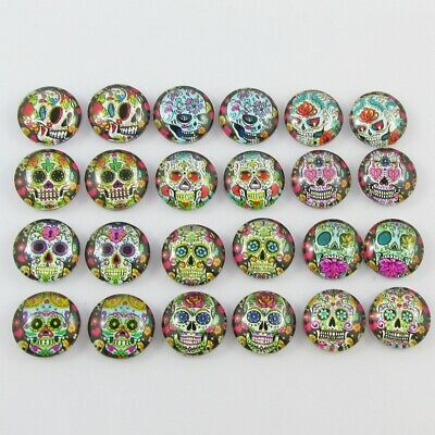 Glass Dome Day of the Dead Skull Cabochon 12mm Pick 10 or 20 pce in random pairs